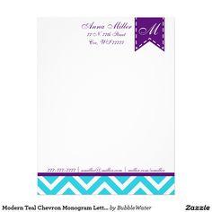 Modern Teal Chevron Monogram Letterhead/Stationery