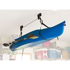 Kayak Fishing Elevation Kayak Storage Hoist from Discount Ramps stores your canoe or kayak inside, overhead and out of the way. Double pulley system includes all the hardware to mount to your garage or shed ceiling and has a safety rope catch mechanism. Kayaking Gear, Kayak Camping, Canoe And Kayak, Kayak Fishing, Canoeing, Fishing Stuff, Kayak Paddle, Fishing Guide, Fishing Boats