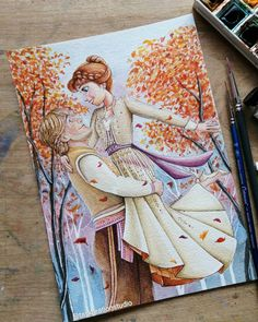Disney Princess Drawings, Disney Princess Art, Disney Sketches, Disney Drawings, Cartoon Drawings, Frozen Art, Frozen Painting, Art Drawings Sketches Simple, Colorful Drawings