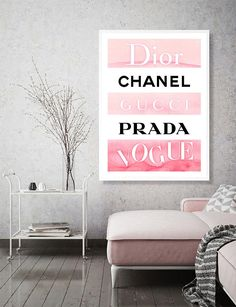 Fashion print - chanel - dior - gucci - vogue print - fashion wall art - fashion designer logo -watercolor art - fashion decor - printable in 2019 Fashion Wall Art, Fashion Prints, Photo Wall Collage, Picture Wall, Bedroom Themes, Bedroom Decor, Bedrooms, Bedroom Posters, Wall Art Sets