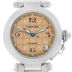 Cartier Pasha C Steel Salmon Grid Dial Watch W31023M7