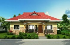 Pinoy House Design 2015002 is a one storey house design with a floor area of 148 m². An elegant entry enhances an inviting front porch on this traditional design. Modern Bungalow House Design, Small House Design, Porch House Plans, Bedroom House Plans, Bungalow Floor Plans, Home Design Floor Plans, Style At Home, Philippines House Design, One Storey House