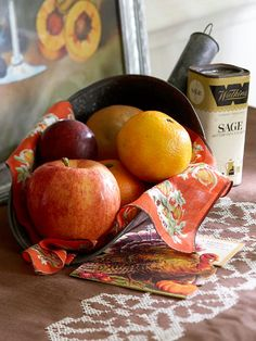 Metal Scoop with Apples & Citrus + Vintage Spice Tin