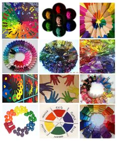 Creative color wheels.  Cut out images for collage or have students create image and photograph? Idea for 6th grade art journals?? creativ color, color wheel ideas, color wheel projects, color wheels, kid