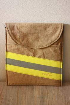 Firefighter Ipad Sleeve from Recycled Bunker Gear / Turnout Gear, Reskü / color tan fits iPad Air 0093