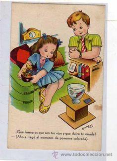 POSTAL BOMBÓN. POR UN VIAJE A PARIS. SERIE 38. ESCRITA EN 1945. SIN CIRCULAR. (Postales - Niños)