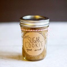DIY Sugar Cookie Foot Scrub | This easy scrub comes together in a matter of minutes! Perfect for valentines day, a hostess gift, or for you!