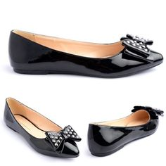 Black Patent Pippa Flats w/ Bow and Silver Studs New in box. Pippa, black patent flats featuring a bow at the front covered in silver studs. Adorable flats perfect to wear to work and to go out in.                                                                               PRICE IS FIRM UNLESS BUNDLED.                          ❌SORRY, NO TRADES. Boutique Shoes Flats & Loafers