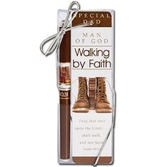 Great for Father's day. Man of God - Walking by Faith pen & bookmark gift box set, especially for dads, features Bible verse Isaiah They that wait upon the LORD. shall walk, and not faint on Fathers Day Verses, Fathers Day Gifts, Christian Men, Christian Gifts, Godly Man, Walk By Faith, Acrylic Box, Walking By, Dads