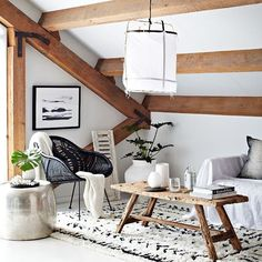 Love the exposed beams in this living space of @indiehomecollective | photo by @mwphotographynz