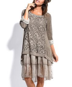 Another great find on #zulily! Taupe Lace Ruffle-Hem Shift Dress #zulilyfinds
