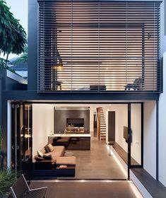 Architecture by Niven Choi Architects in Sydney, Australia. Minimalist House Design, Small House Design, Minimalist Home, Modern House Design, Design Exterior, Modern Exterior, Narrow House, Loft House, Loft Design
