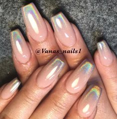 Nude and holographic ombré nails - coffin #nails #nailscoffin #coffinnails
