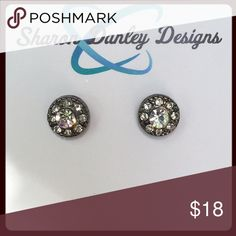 Crystal Stud Earrings - Handmade!! Sparkling clear crystals set in petite, gunmetal settings. Jewelry Earrings