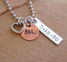 Anniversary, Wedding Necklace, Personalized, with Date and Initials. $20.00, via Etsy.