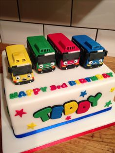 Tayo the little bus cake Baby Boy Birthday Cake, 3rd Birthday, Car Cakes For Boys, Cake Mix Cobbler, Bus Cake, Tayo The Little Bus, Cake Blog, First Birthdays, Cake Pics