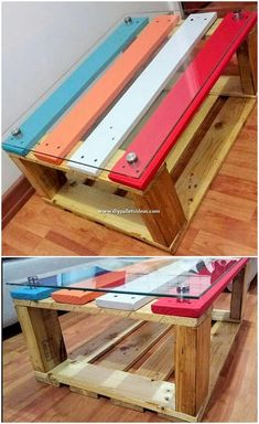 Impressive DIY Pallet Ideas for Your Home Renovation: Let's make your house flourishing best and remarkable in the beauty outlooks with the awesome re-purposing ideas of the wood pallets. Diy Projects Design, Scrap Wood Projects, Diy Design, Diy Pallet Bed, Pallet Tables, Wooden Work Bench, Wood Tile Bathroom Floor, Living Room Wood Floor, Pallet Designs