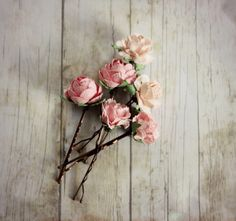Pink Flower Hair Pins. Flower Hair Pin. Whimsical. Bridesmaids. Rustic Wedding. Woodland. Hair Accessories. Spring,