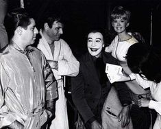 Jerry Lewis and Connie Stevens visiting Adam West and Cesar Romero on the set of Batman, 1966.