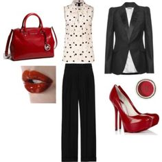 I wish I had a job that I can wear this outfit to!!! Im obsessed with polka dots!!!