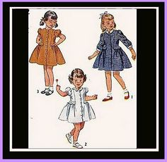 1940s Little Girl's Dress Vintage Sewing Pattern  Size / age 4 Childrens