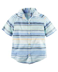 Kid Boy Short-Sleeve Striped Button-Front Shirt from Carters.com. Shop clothing & accessories from a trusted name in kids, toddlers, and baby clothes.