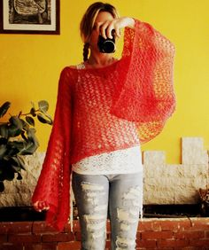 Hand Knitted Poncho Sweater in Coral Red, Loose Fit Sweater, Off Shoulder Top, Bohemian Style, Kimono Sleeves