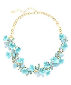 Another great find on #zulily! Gold & Blue Crystal Floral Treasure Statement Necklace #zulilyfinds
