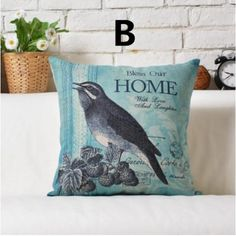 Pastoral style Bird decorative pillow for Couch retro blue cushions