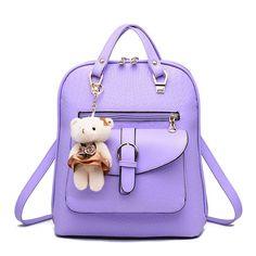 $21.30 (Buy here: https://alitems.com/g/1e8d114494ebda23ff8b16525dc3e8/?i=5&ulp=https%3A%2F%2Fwww.aliexpress.com%2Fitem%2F2016-Summer-Fashion-Student-Girls-Backpack-PU-Leather-Casual-Women-Backpack-Teenagers-Girls-School-Bag-Travel%2F32704357047.html ) 2016 Summer Fashion Student Girls Backpack PU Leather Casual Women Backpack Teenagers Girls School Bag Travel Bag With Cute Bear for just $21.30