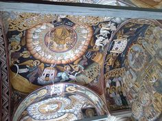 The frescoes are of scenes from the Apocalypse/Book of Revelation. Catholicon, Xeropotamou, Mount Athos - Greece