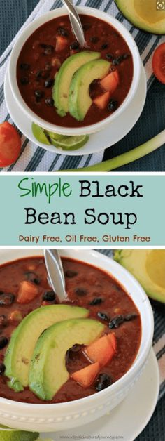 Simple Black Bean Soup | vegan | gluten free | oil free | dairy free | quick and easy | 30 minute meal | weeknight dinner | plant protein via @veggieinspired