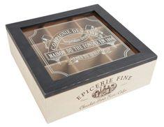 Estilo-Vintage-Frances-Caja-De-Madera-Bolsa-De-Te-nueve-compartimentos-de-almacenamiento-Caddy