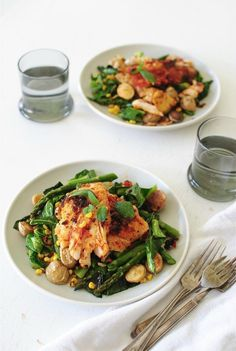 Sun-Dried Tomato Cod with Roasted Potatoes, Corn and Greens / Bev Cooks