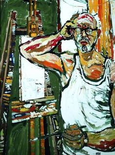 John Randall Bratby - Self Portrait with an Easel and an Agonised Expression by John Randall Bratby, Oil on canvas, x cm, Atkinson Art Gallery Collection. Portraits, Portrait Art, John Bratby, Selfies, Art Database, Art Uk, Your Paintings, Sculpture, Artist Art