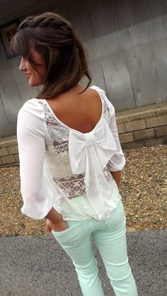 Cute outfit, mint jeans, white lace and bow back top