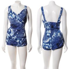 ROSE-MARIE-REID-designer-BRUSHSTROKE-BLUE-vintage-50s-PIN-UP-BATHING-SWIM-SUIT-S