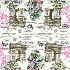 4x Single Table Party Paper Napkins for Decoupage Craft Vintage Arc de Triomphe