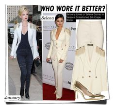 """""""Who Wore It Better?January Jones or Selena Gomez in Versace Embellished Silk-Crepe Blazer"""" by kusja ❤ liked on Polyvore featuring GALA, Reed Krakoff, Versace, Miu Miu, WhoWoreItBetter, selenagomez, versace and wwib"""
