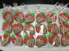 3-pack Chocolate Covered Strawberries Decorated Sugar Cookies by I Am the Cookie Lady