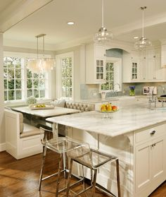 GREEN with Envy: LEED Certified Whole House Renovation traditional kitchen. Love the breakfast area!