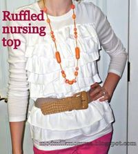 Ruffled nursing top DIY using two t-shirts and a little elastic.