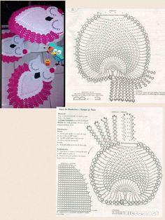 Crochet Rug with Owl Graphic Owl Crochet Patterns, Crochet Owls, Granny Square Crochet Pattern, Crochet Diagram, Crochet Home, Thread Crochet, Filet Crochet, Crochet Motif, Diy Crochet