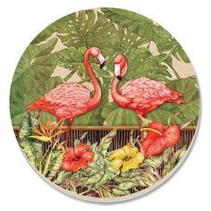 TropicalBreezeDecor - Pink Flamingo Garden Stone Coasters - Set of 4 - 13595, $11.89