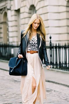 long flowing skirt, leather jacket