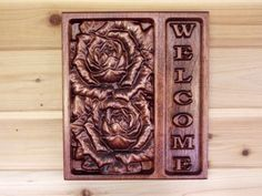 Rose Welcome Sign  Home Decor Welcome Sign by TheWoodGrainGallery