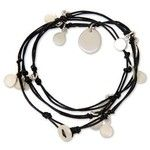 NOVICA Silver Plated Charms on Black Leather Wrap Bracelet