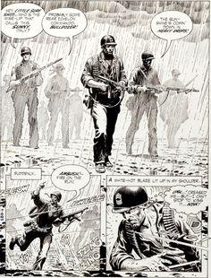 Our Army at War splash, Russ Heath Comic Book Pages, Comic Page, Comic Book Artists, Comic Book Covers, Comic Book Characters, Comic Artist, Comic Books Art, Programa Apollo, Comics Und Cartoons