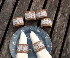 burlap/white lace napkin holders