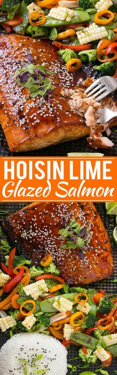 Hoisin Lime Glazed Salmon - The salmon and vegetables cook together on the same pan for a quick, healthy and easy dinner!: Hoisin Lime Glazed Salmon - The salmon and vegetables cook together on the same pan for a quick, healthy and easy dinner! Salmon Dishes, Fish Dishes, Seafood Dishes, Seafood Recipes, Cooking Recipes, Dinner Recipes, Asian Seafood Recipe, Cooking Cake, Cooking Videos